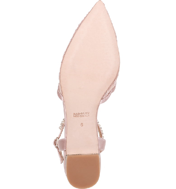 d26fcad6af Badgley Mischka Lennon Embellished Skimmer Flat In Soft Pink Fabric/ Satin
