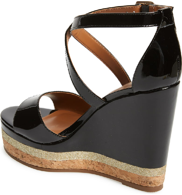a1b42bb81 Kurt Geiger London Alina Wedge Sandal In Black Patent Leather | ModeSens