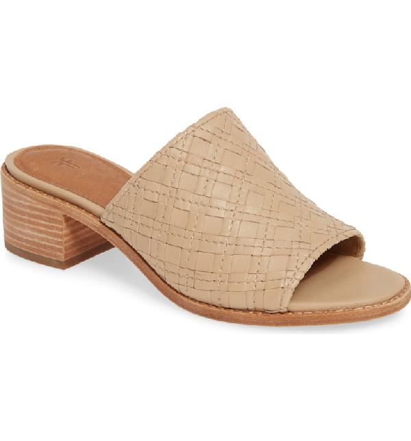 f2d4a02e8b9f5 Frye Women's Cindy Woven Leather Block Heel Sandals In Cream | ModeSens