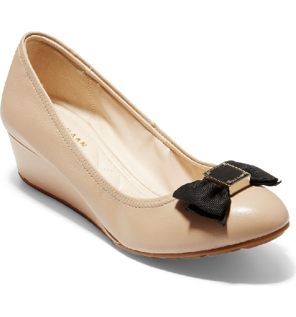a5ee6f7d1 Cole Haan Tali Grand Soft Bow Wedge Pumps In Nude Leather   ModeSens