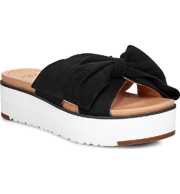8dd8ae06f502 Ugg Joan Ii Platform Slide Sandal In Black Suede