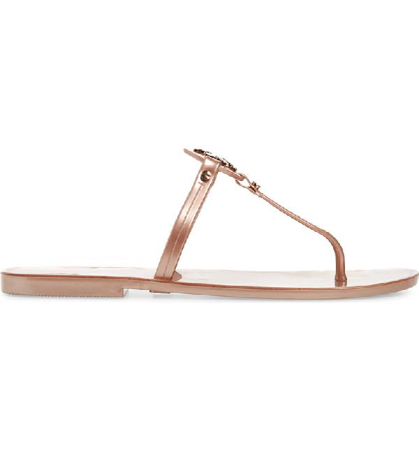 691bda5e5 Tory Burch Mini Miller Jelly Flat Thong Sandals In Rose Gold