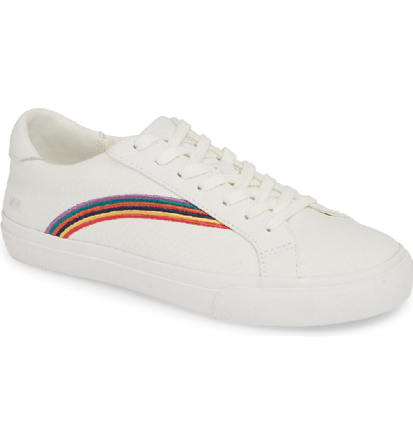 f2828314c9da18 Madewell Women s Sidewalk Low-Top Sneakers In Rainbow Embroidered Canvas In  Rainbow Multi White