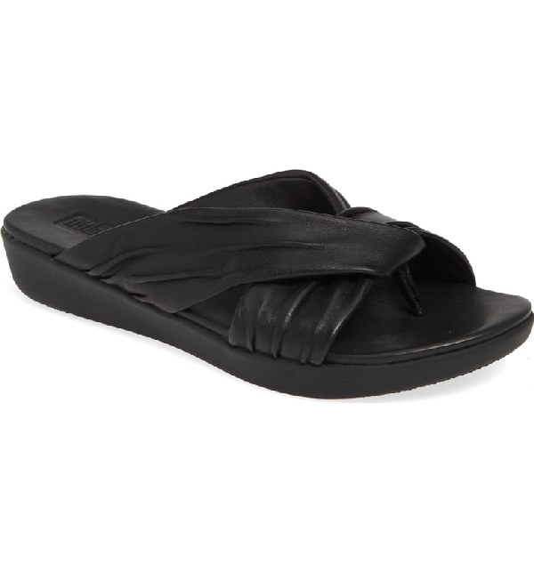 5f366a366 Fitflop Twine Slide Sandal In Black Leather. Nordstrom