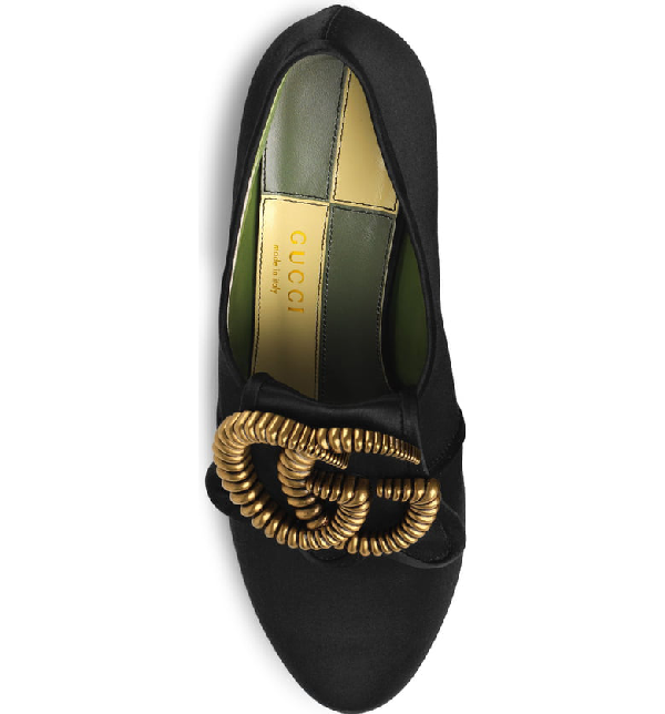 16fbd5a30af Gucci Satin Mid-Heel Pump With Double G In Green