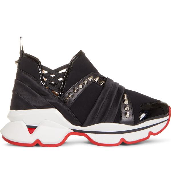 3b2b333ee05 123 Run Paneled Embellished Neoprene Sneakers in Black
