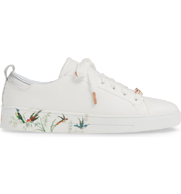 b2c8642a5 Ted Baker Roully Sneaker In White Fortune Leather