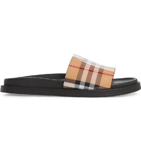 ad83c48995 Burberry Women's Graffiti Logo Print Vintage Check Slide Sandals In Tan