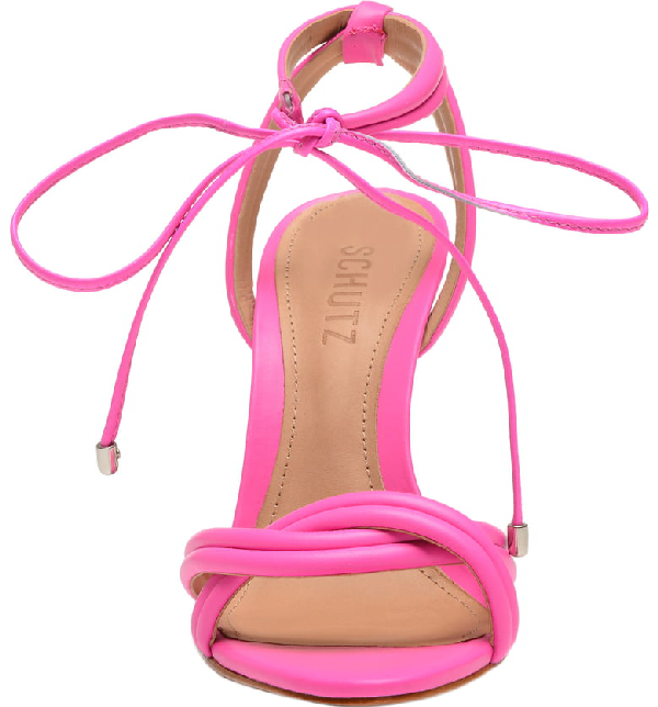 d74602eb25b Schutz Yvi Twisted Leather Ankle-Tie Sandals In Neon Pink