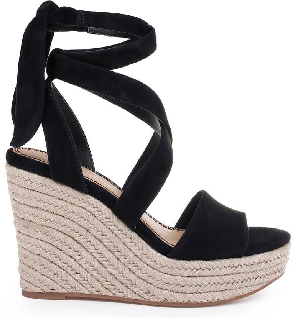 d22ad116b444 Splendid Women s Tessie Ankle-Tie Wedge Sandals In Black Suede ...