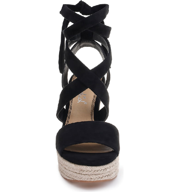 11811f2d85e Women's Tessie Ankle-Tie Wedge Sandals in Black Suede