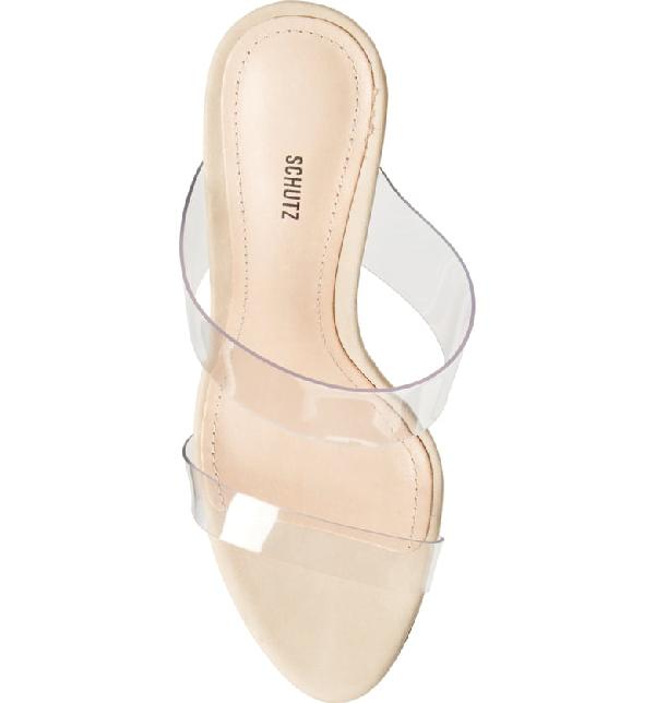 5e91532dc6 Schutz Women's Ariella Clear Strap High-Heel Slide Sandals In Beige/ Transparent Vinyl Fabric