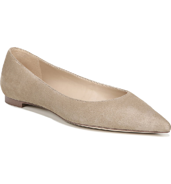 bffd94f80ff8 Sam Edelman Women's Sally Pointed Toe Suede Flats In Oatmeal Suede Leather