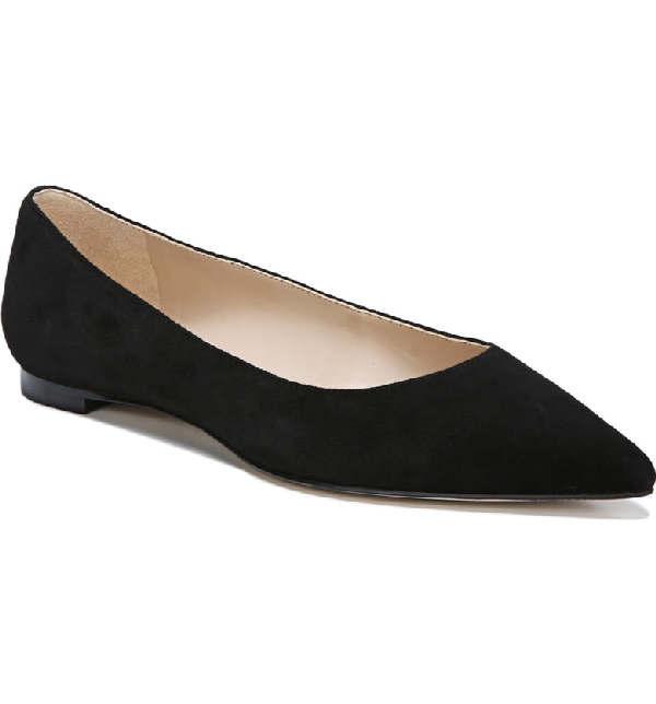 51c5ffe5e849 Sam Edelman Women's Sally Pointed Toe Suede Flats In Black Suede Leather
