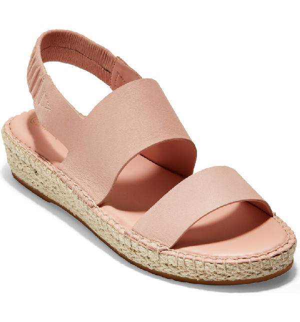 f18bebb3fb6f Cole Haan Women s Cloudfeel Slingback Platform Espadrille Sandals In Rose  Nubuck  Natural Fabric
