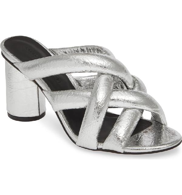 8b4f204b5c22 Rebecca Minkoff Women s Amandine High-Heel Slide Sandals In Silver Metallic  Faux Leather