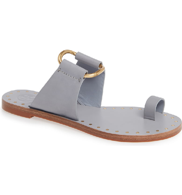 014bd8988ffc Tory Burch Women s Ravello Studded Leather Slide Sandals In Cloud Blue