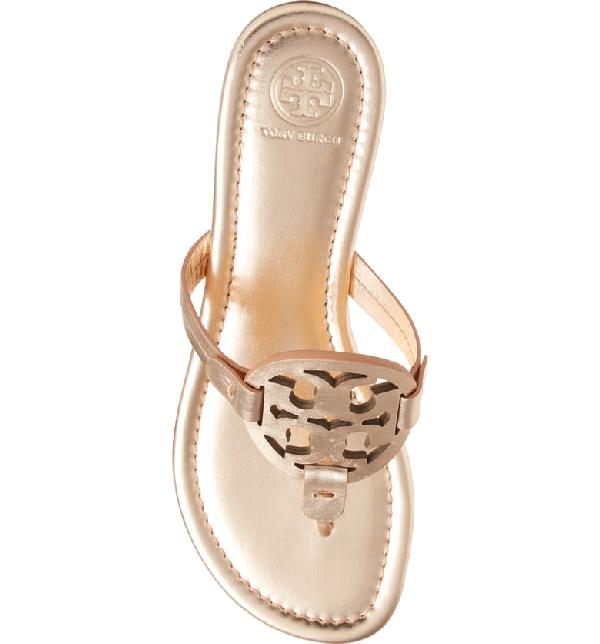 1983852b9 Tory Burch Miller Medallion Metallic Leather Flat Slide Sandal In Neutrals