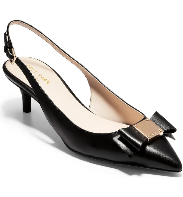 8131fc9c4 Cole Haan Tali Grand Bow Kitten-Heel Leather Pumps, Black In Black Leather