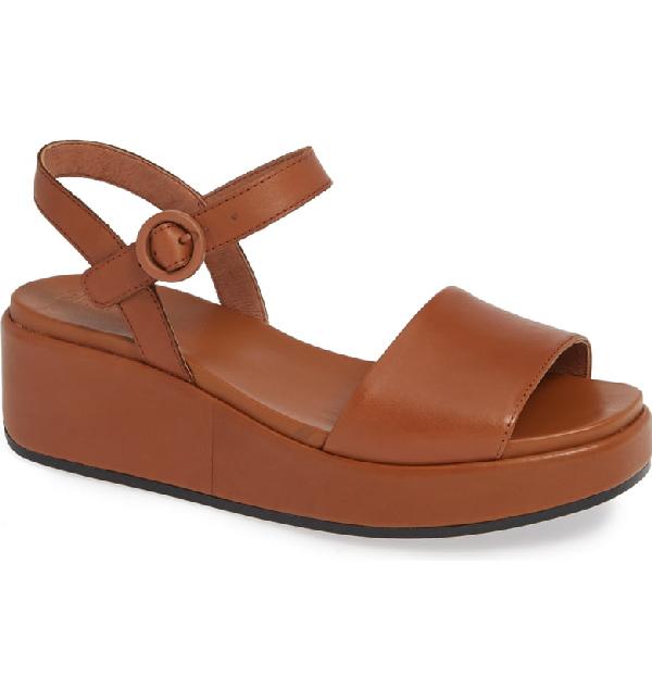 ab16086788ab Camper Misia Platform Wedge Sandal In Medium Brown Leather