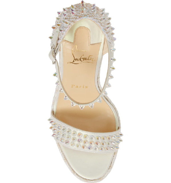 f05473be225 Madmonica Spike Red Sole Wedge Sandals in White/Gold