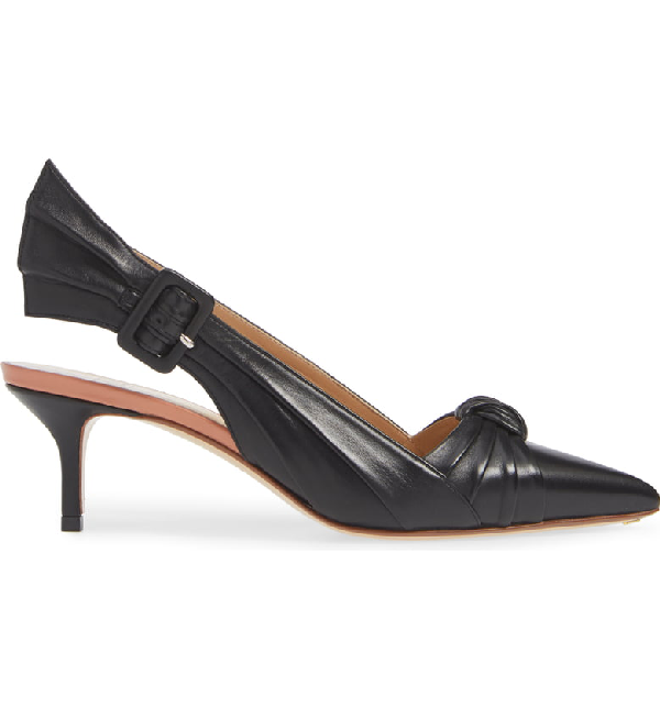 afa437cd9748b Francesco Russo Knotted Leather Slingback Pumps In Black