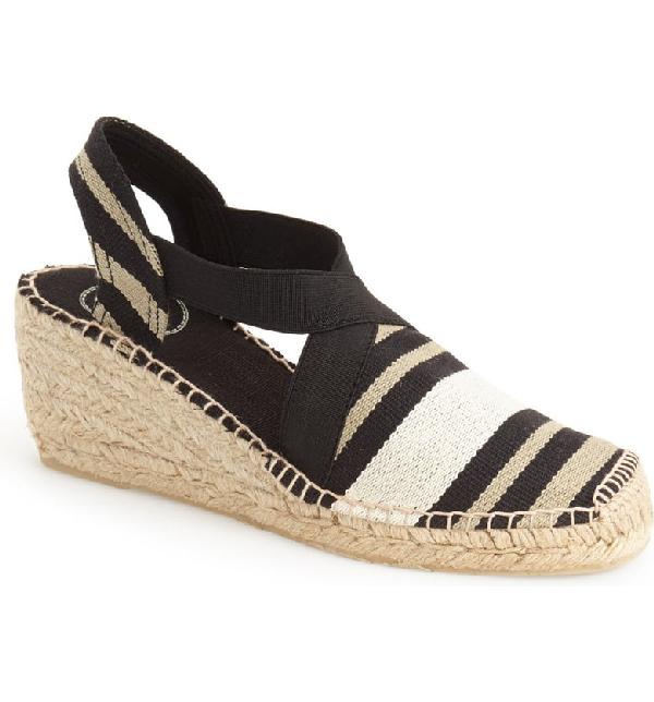 b3ffc667fcc 'Tarbes' Espadrille Wedge Sandal in Black Combo Linen