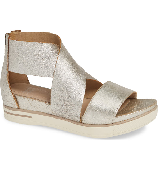 f195a578d918 Eileen Fisher Women s Sport Crisscross Wedge Platform Sandals In Platinum  Metallic