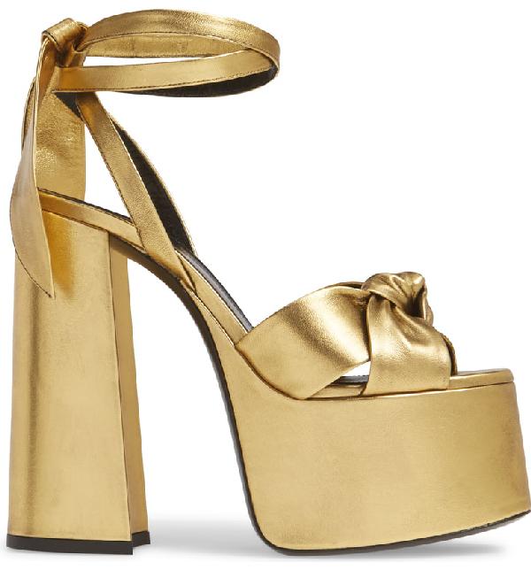 d733394cec8a Saint Laurent Paige Metallic Leather Platform Sandals In Gold