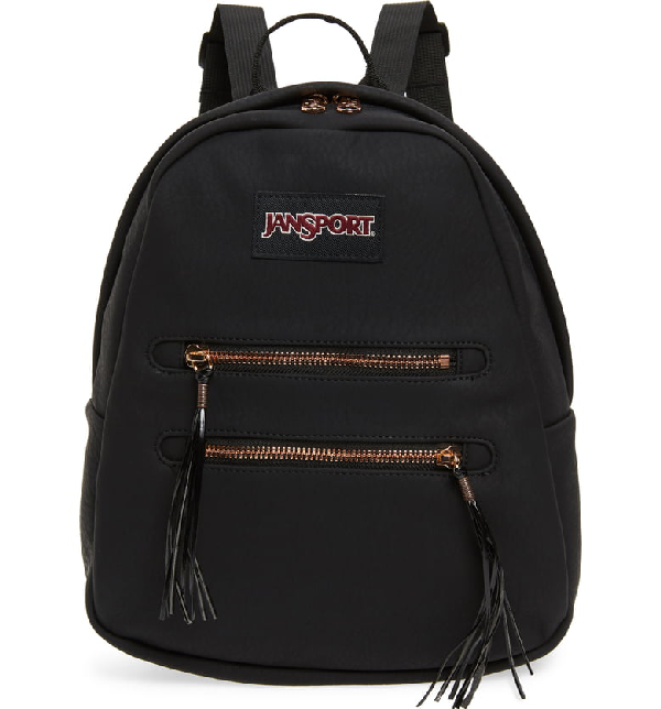 401fc3801 Jansport Half Pint 2 Mini Faux Suede Backpack - Black In Black Rose Gold
