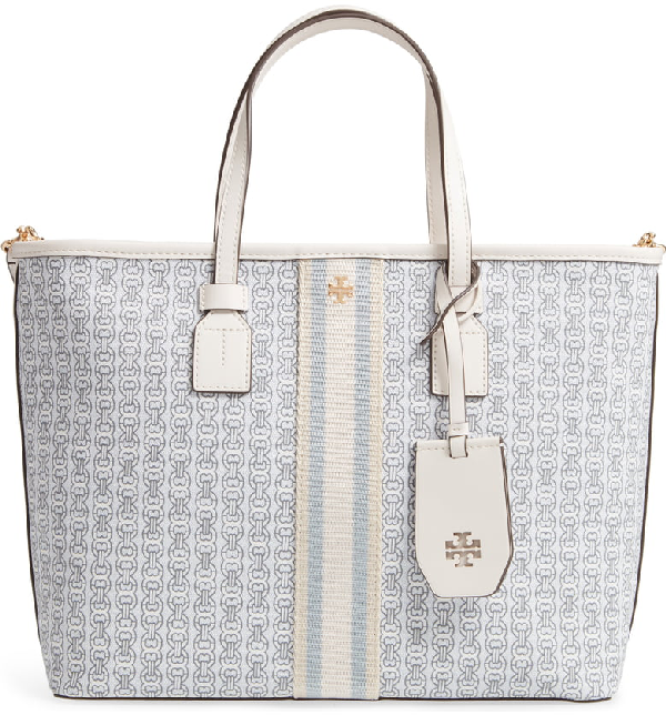 7c6f5090b Tory Burch Small Gemini Link Coated Canvas Tote - Ivory In New Ivory ...
