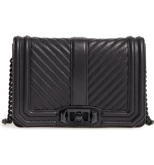 2408d87ae499ce Rebecca Minkoff Black Chevron Quilted Leather Small Love Crossbody Bag In  Black/ Black Hrdwr. Nordstrom