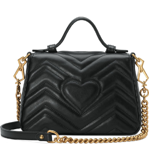 14823fdb2eae Gucci Gg Marmont Medium Chevron Quilted Top-Handle Bag With Chain Strap In  Black