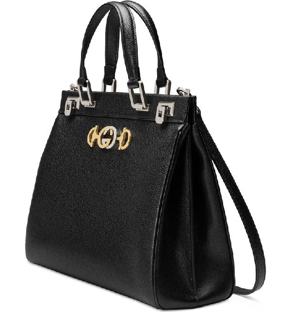 e111d5743654 Gucci Zumi Grainy Leather Medium Top Handle Bag In Black | ModeSens