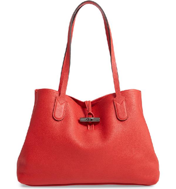 79baa6a9e3 Longchamp Roseau Essential Medium Leather Shoulder Tote Bag In Red ...
