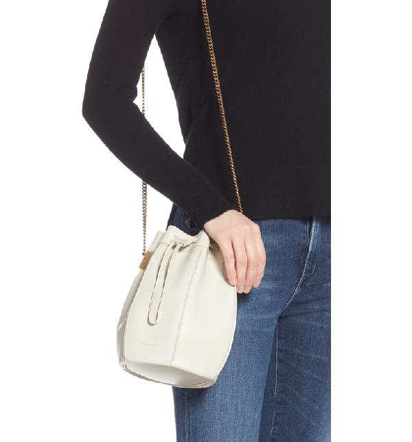 Saint Laurent Talitha Medium Bucket Bag In Smooth Leather In Cream