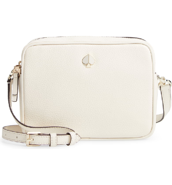 Kate Spade Medium Polly Leather Camera Bag White In Parchment Modesens