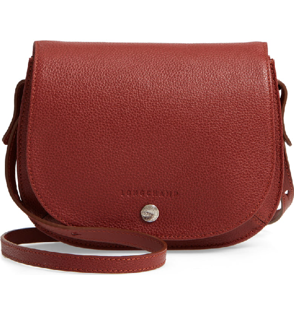 Small Le Foulonne Leather Crossbody Bag - Brown In Chestnut
