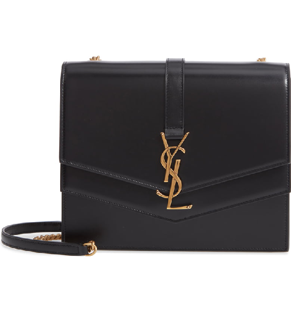 d19fa10f6b0 Saint Laurent Sulpice Medium Ysl Monogram Leather Triple V-Flap Crossbody  Bag In Noir