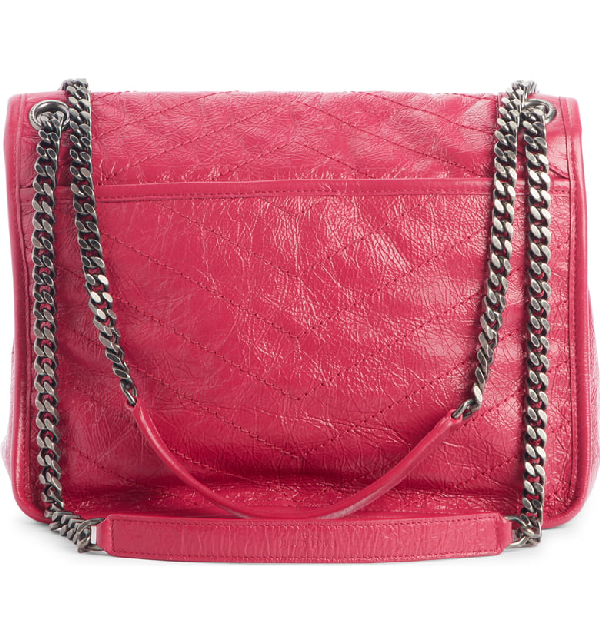 46921af0a3 Saint Laurent Niki Medium Monogram Ysl Shiny Waxy Quilted Shoulder Bag In  Pink