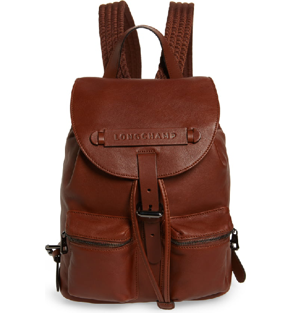 365340bd544 Small 3D Leather Backpack - Brown in Cognac