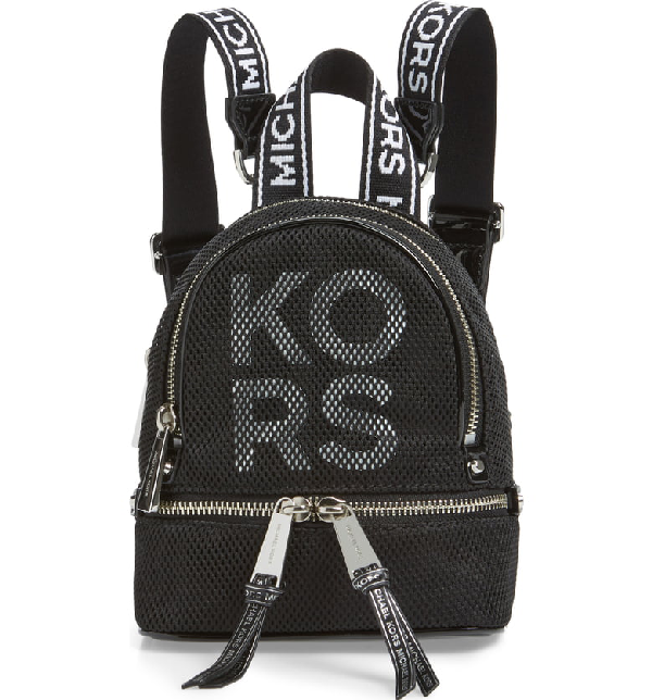 1b28a53715d Michael Michael Kors Extra Small Rhea Mesh Backpack - Black In Black/ Optic  White. Nordstrom