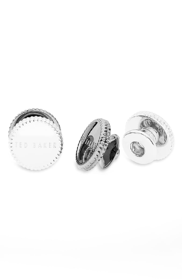 Ted Baker Perfect Knurl Edge Snap Cufflinks In Silver Col