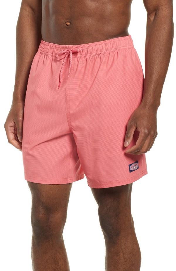 cc6c6d2382e6c Vineyard Vines Fine Line Striped Chappy Swim Trunks In Jetty Red ...