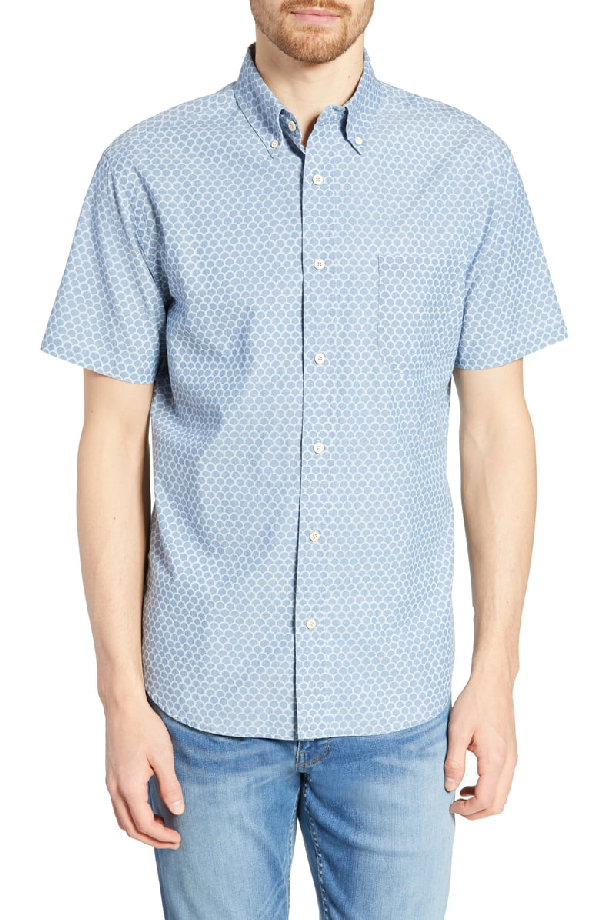 6cfd019bba Faherty Pacific Regular Fit Fishscale Print Cotton Sport Shirt In Fish Scale  Redux