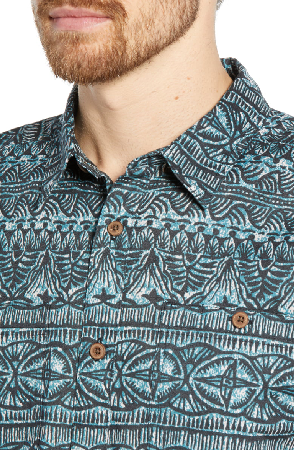 Patagonia Back Step Regular Fit Short Sleeve Shirt In Tradewinds Ink Black
