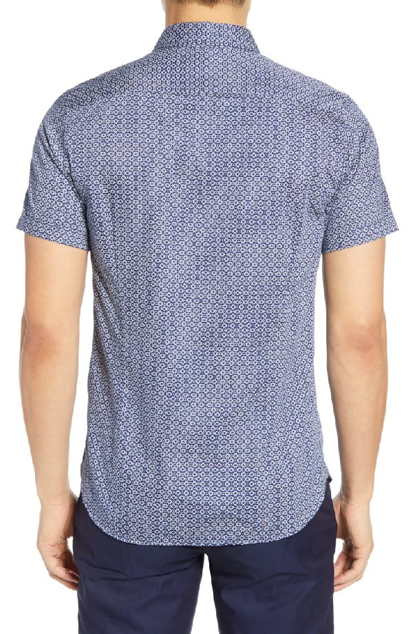 Ted Baker Gooslin Slim Fit Print Sport Shirt In Navy