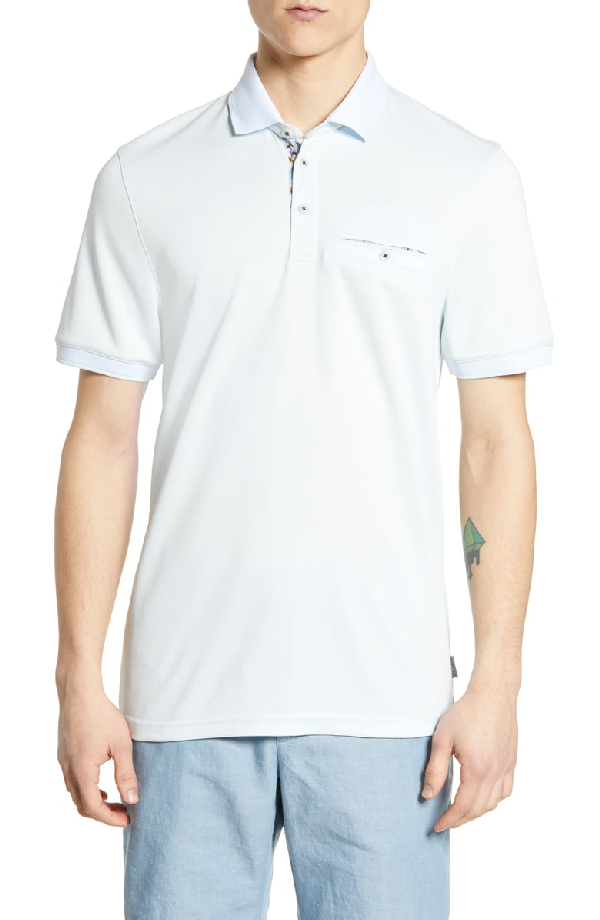 Ted Baker Frog Flat Knit Polynosic Regular Fit Polo Shirt In Light Blue