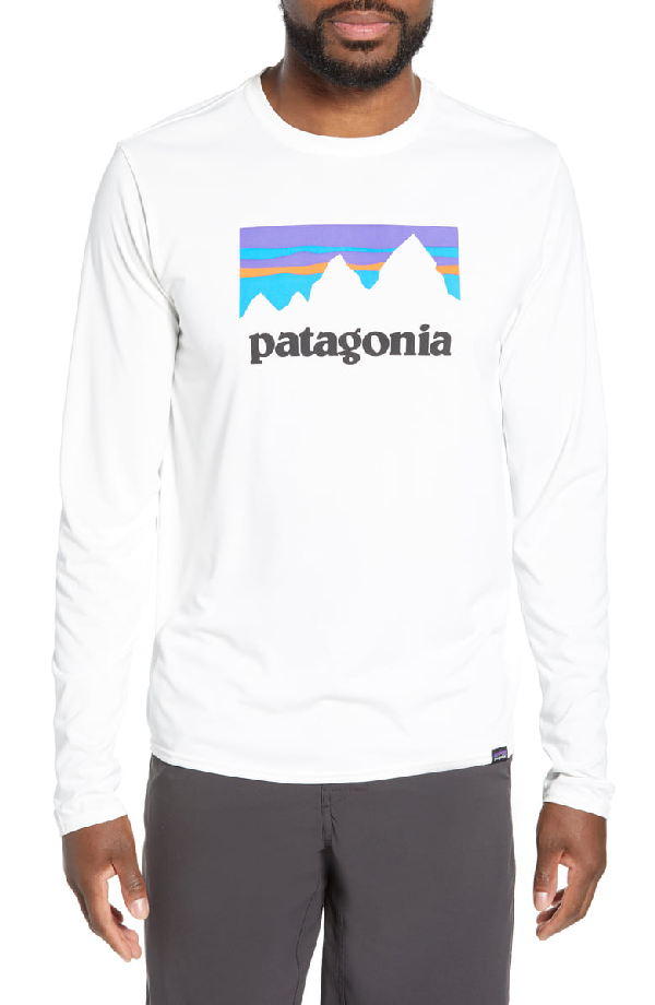 Patagonia Capilene Cool Daily Long Sleeve T-Shirt In Shop Sticker White