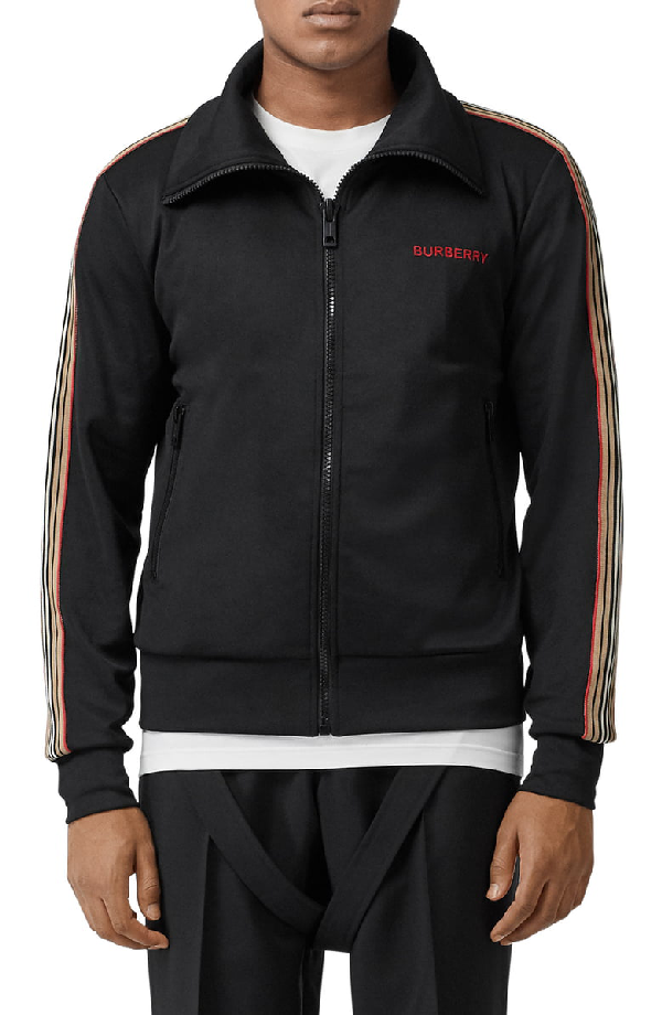 Burberry Icon Stripe Detail Funnel Neck Track Top In Black
